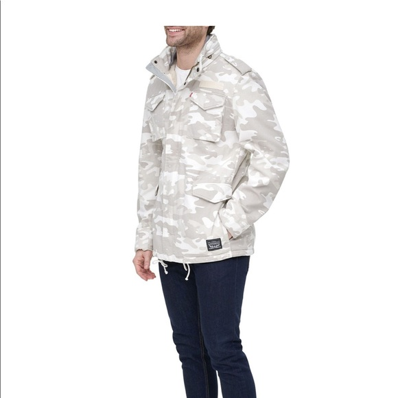 Levis mens Stand Collar Military Jacket white camo